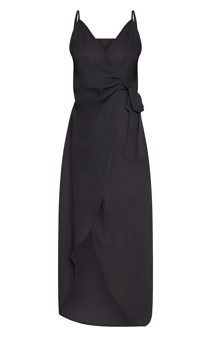 Black Strappy Wrap Over Maxi Dress 3