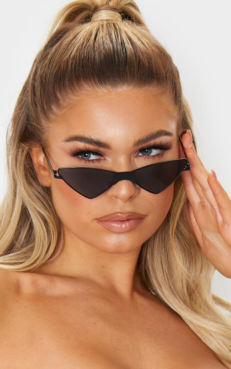 Black Tinted Angled Almond Shaped Sunglasses 1