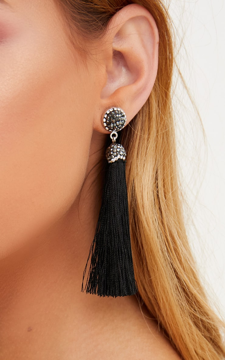 Black Diamante Tassel Drop Earrings 3