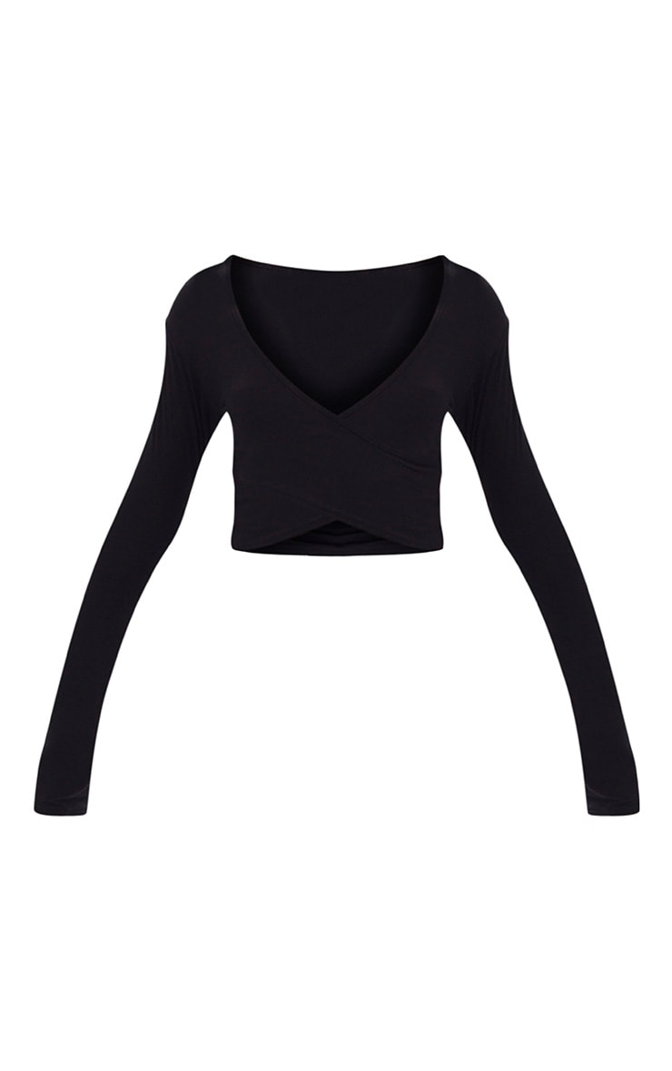 Black Wrap Front Longsleeve Crop Top  3