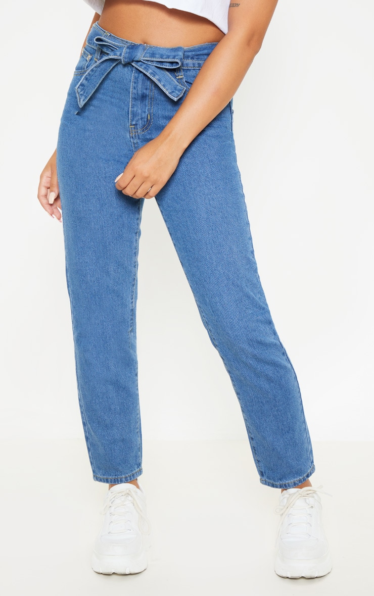 Petite Mid Wash Straight Leg Tie Belted Jeans 2