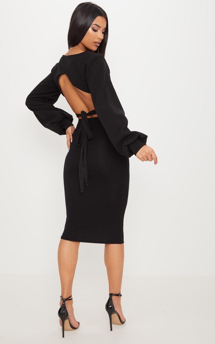 Black Hook And Eye Jersey Puff Sleeve Tie Back Crop Top 4