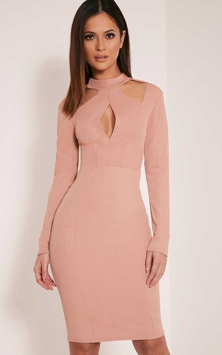 Stephanie Nude Long Sleeve Cut Out Bandage Dress 1