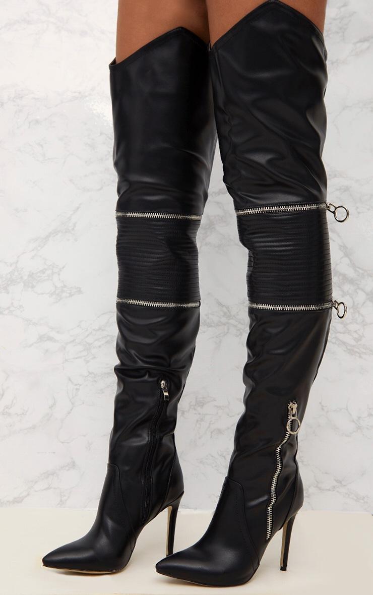 Black Thigh High Heeled Biker Boots  2