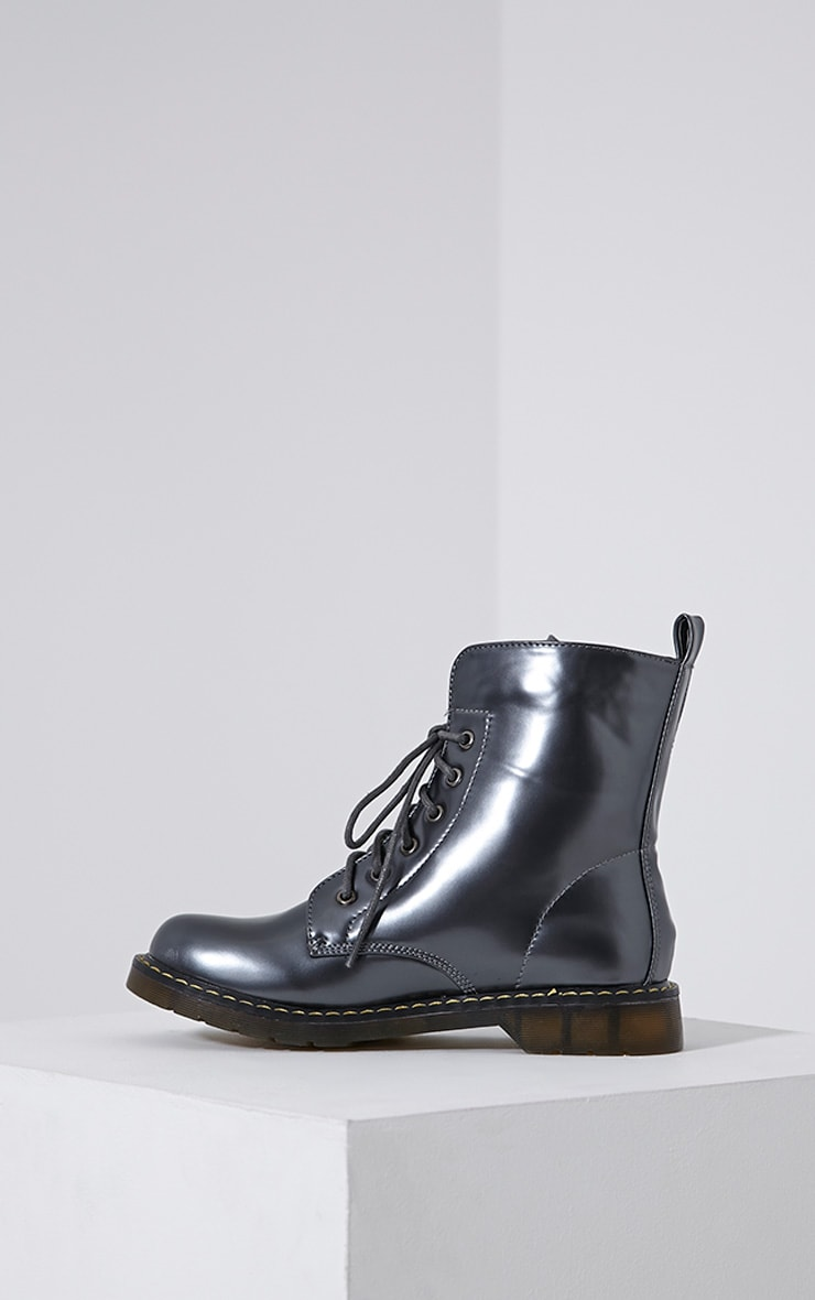 Eleni Grey Metallic Rubber Sole Lace Up Boots 4