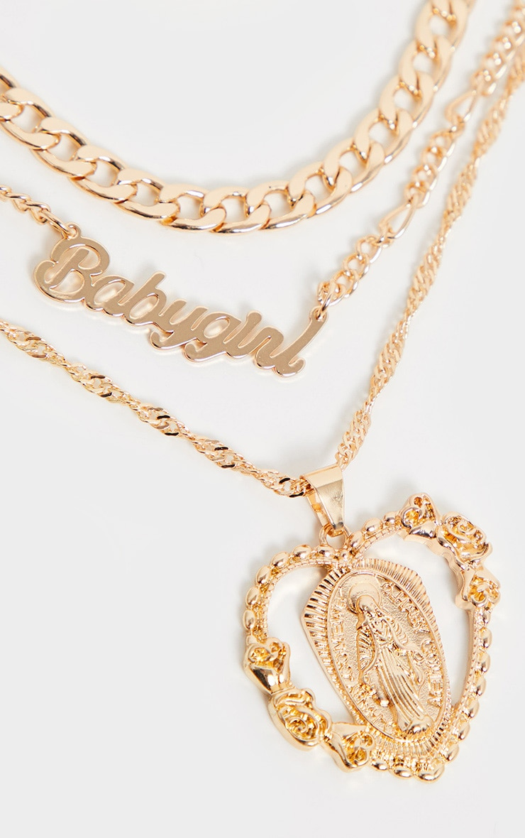Gold Heart Charm Layering Necklace 1