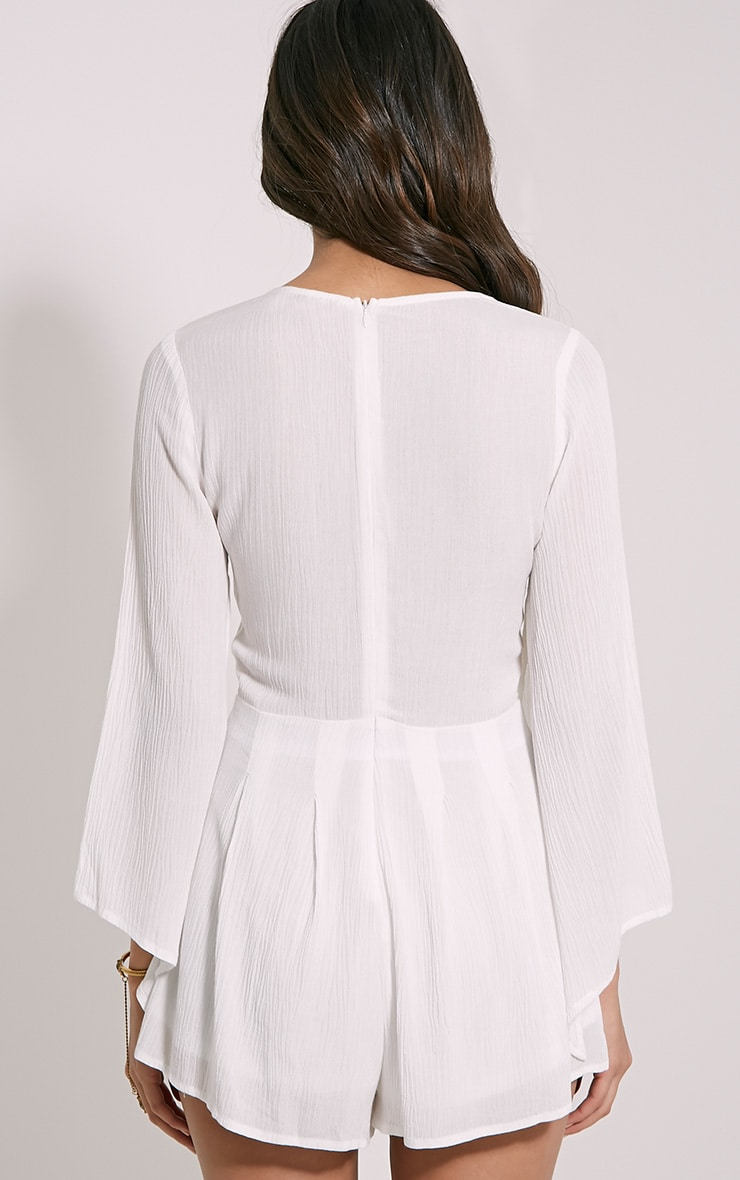 Clemence White Lace Up Detail Bell Sleeve Playsuit 2