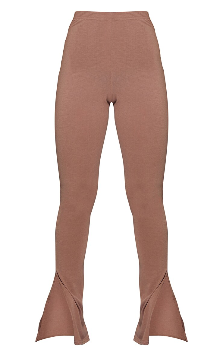 Mauve Basic Jersey Split Hem Leggings 5