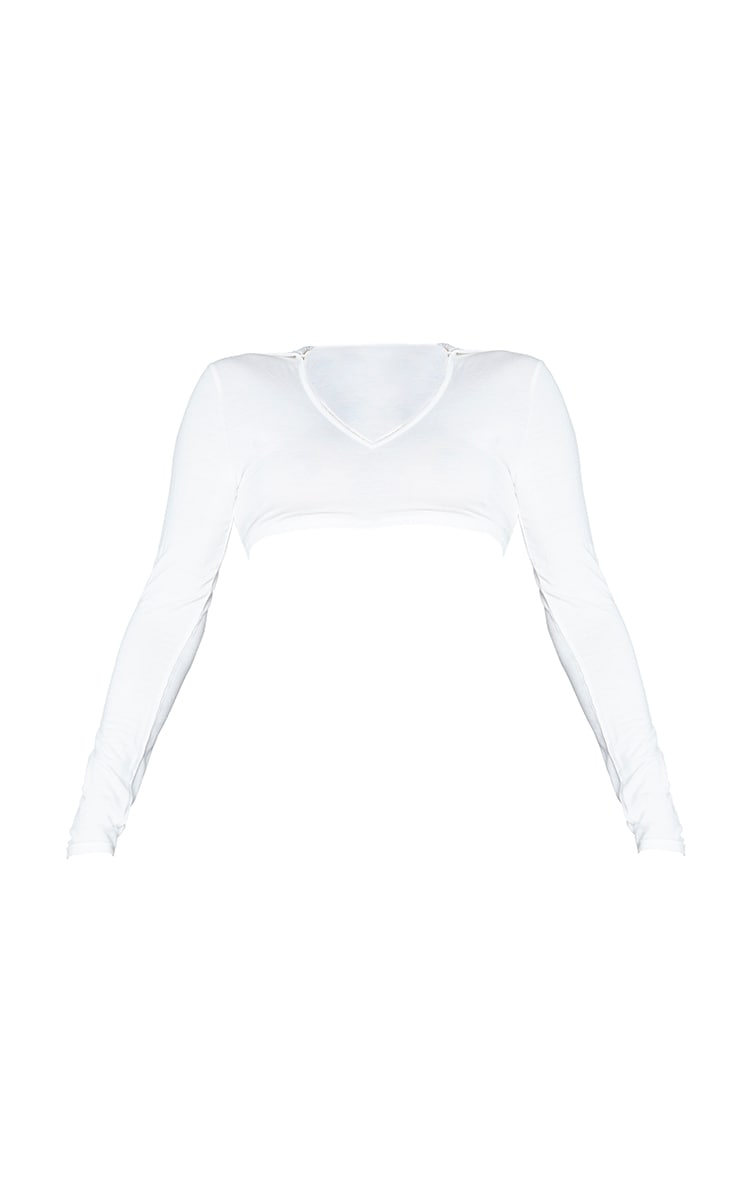 Cream Jersey Long Sleeve Collar Cut Out Tie Back Crop Top 5