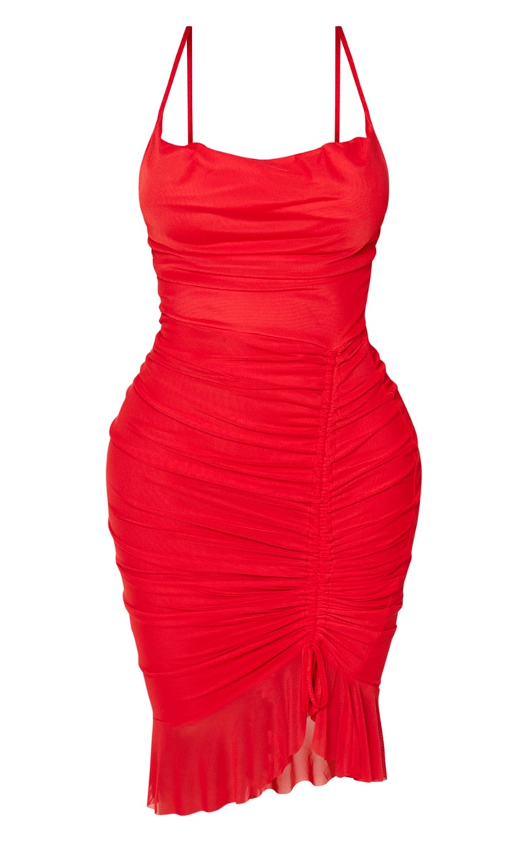 Shape Red Mesh Cowl Ruched Midi Dress 3