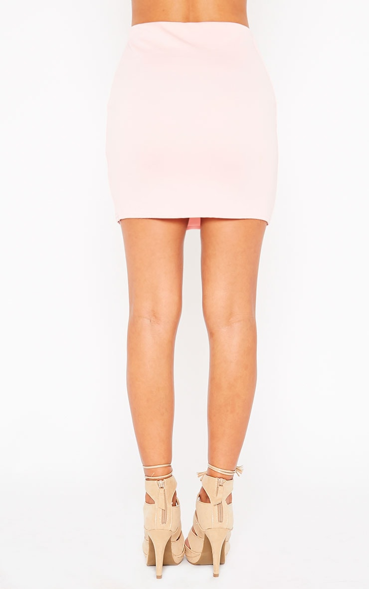 Basic Baby Pink Scuba Mini Skirt 2