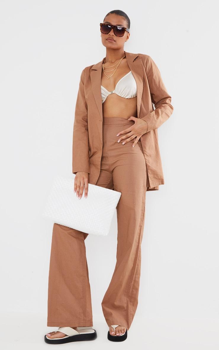 Mocha Linen Feel Oversized Blazer 3