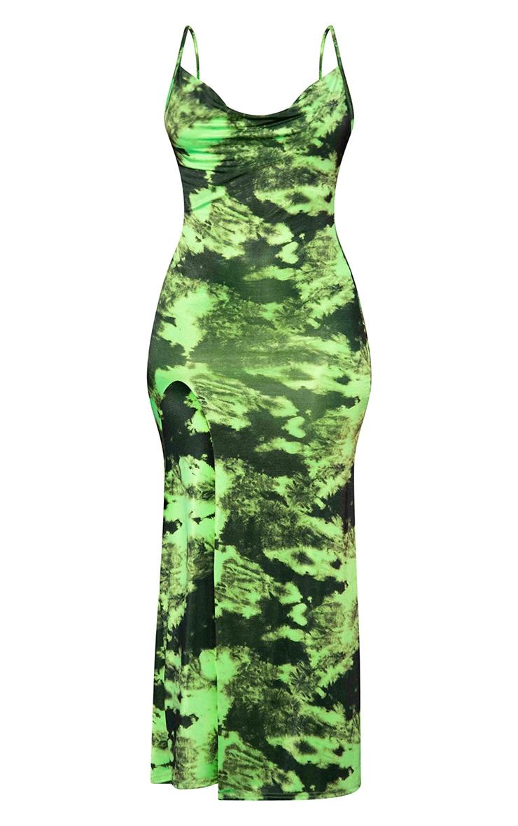 Green Tie Dye Cowl Side Split Maxi Dress 5