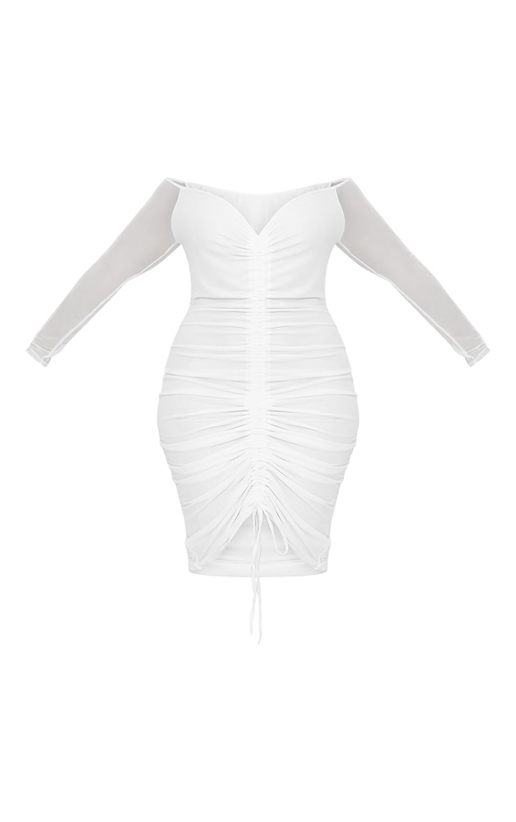 Plus White Mesh Ruched Bardot Midi Dress 3