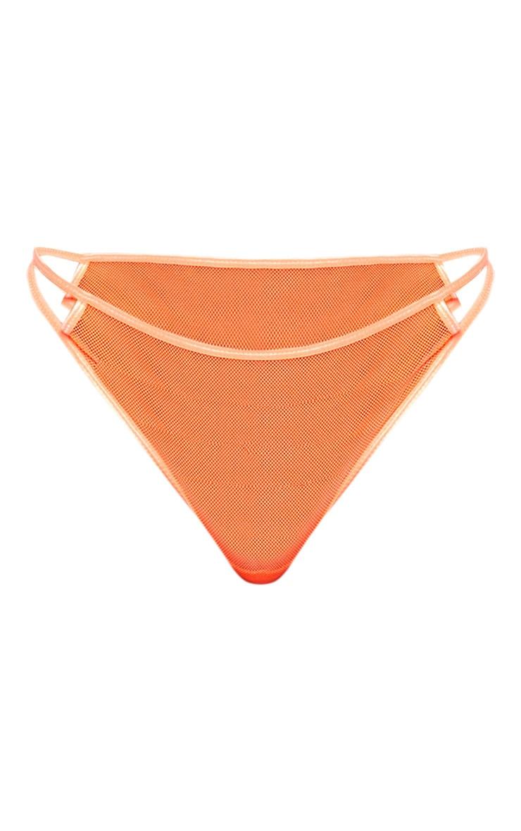 Neon Orange Cut Out Mesh Thong 3