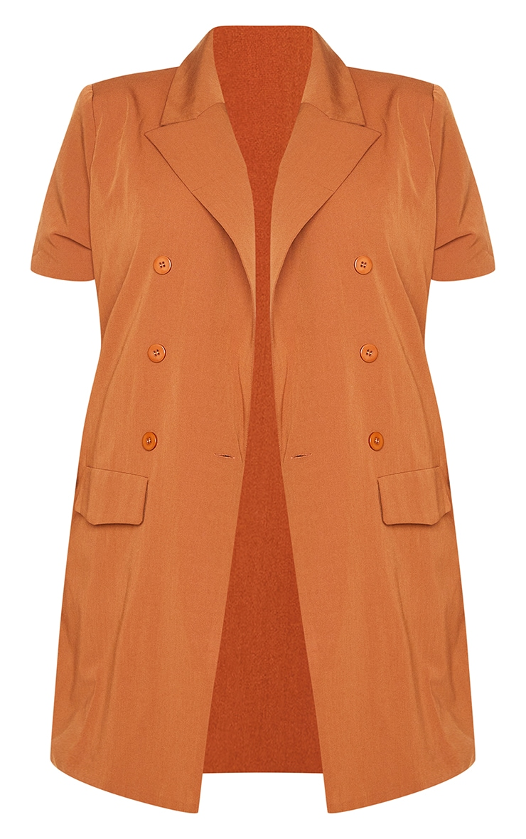 Plus Chocolate Woven Short Sleeve Longline Belted Blazer 5