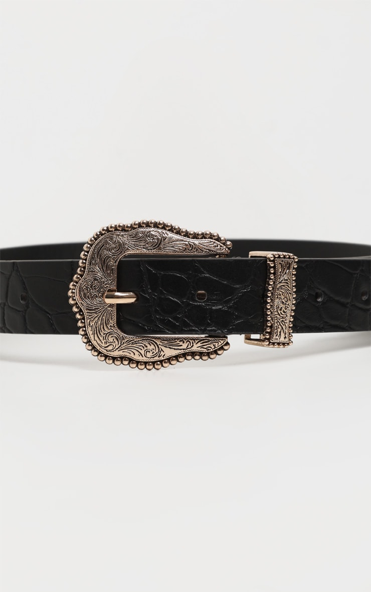 Black Croc Vintage Gold Buckle Western Belt 2