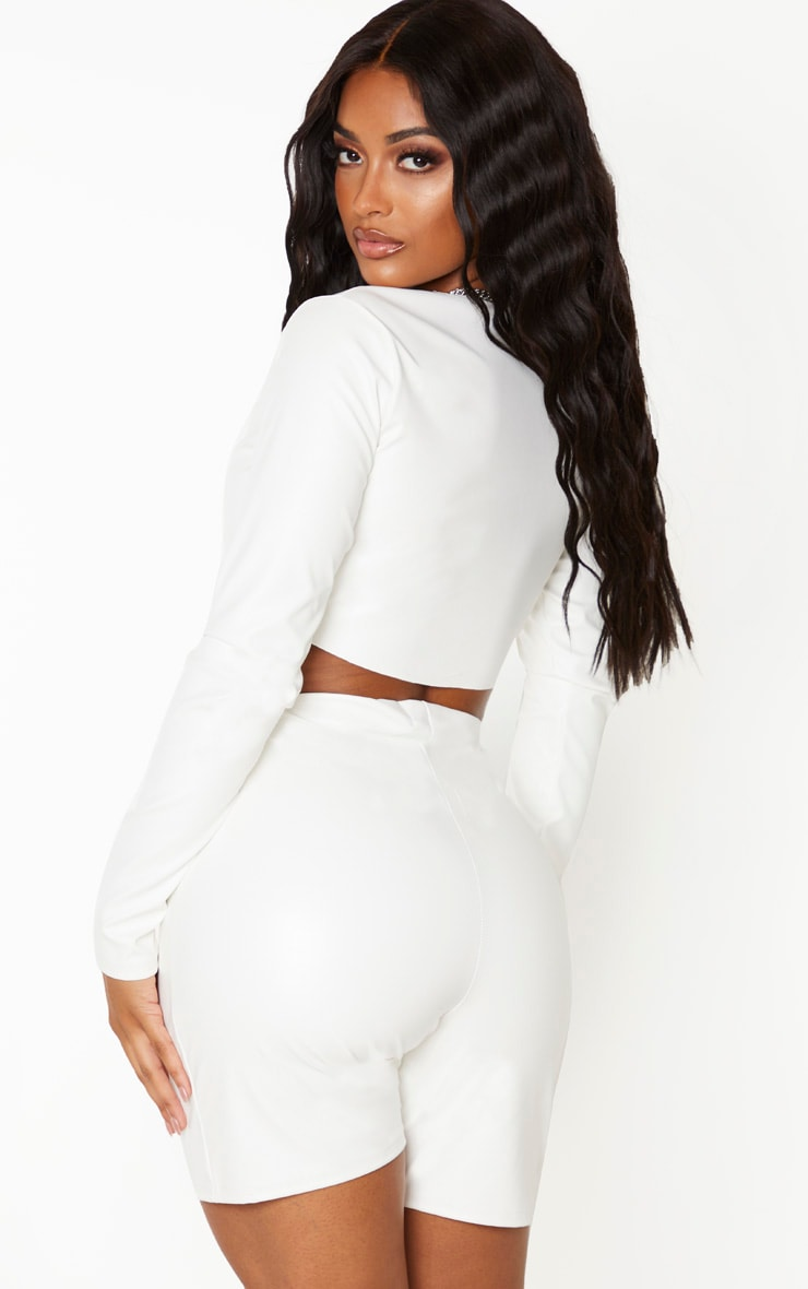 Shape Cream PU Long Sleeve Crop Top 2