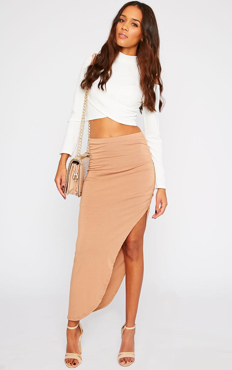 Etta Camel Ruched Jersey Maxi Skirt 5