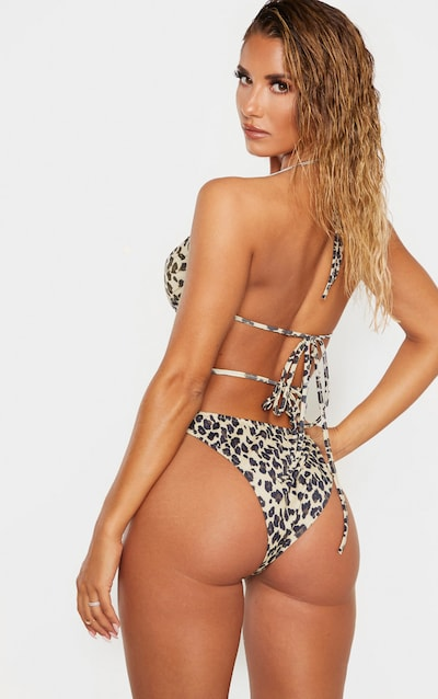 Leopard Ruched Front Bandeau Bikini Top
