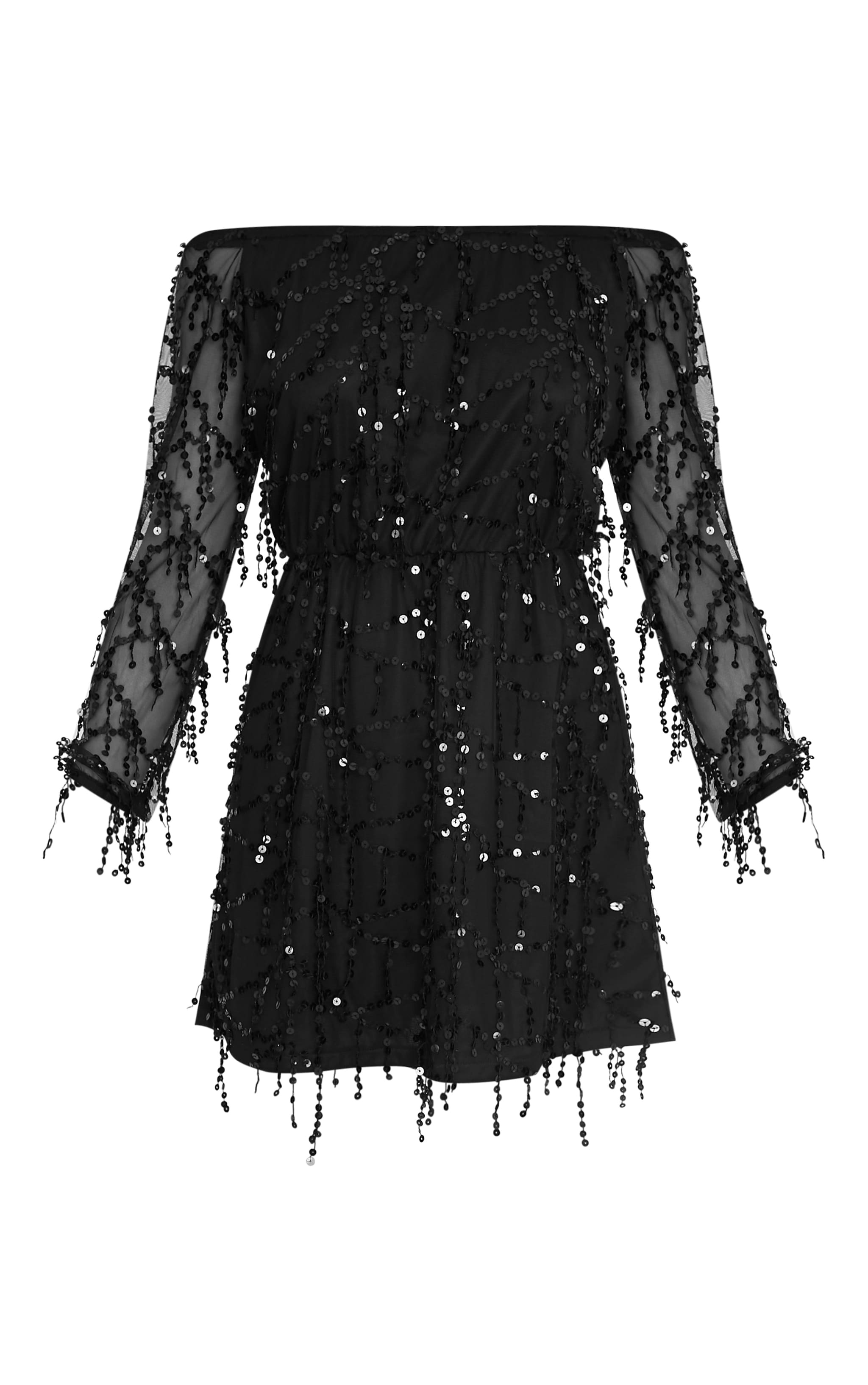 Suki Black Sequin Detail Bardot Dress 2