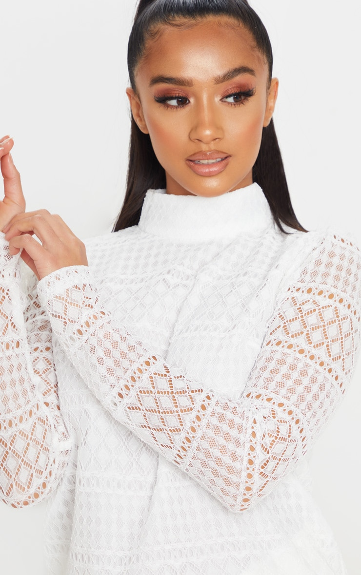 Petite Cream Long Sleeve Lace Blouse 6