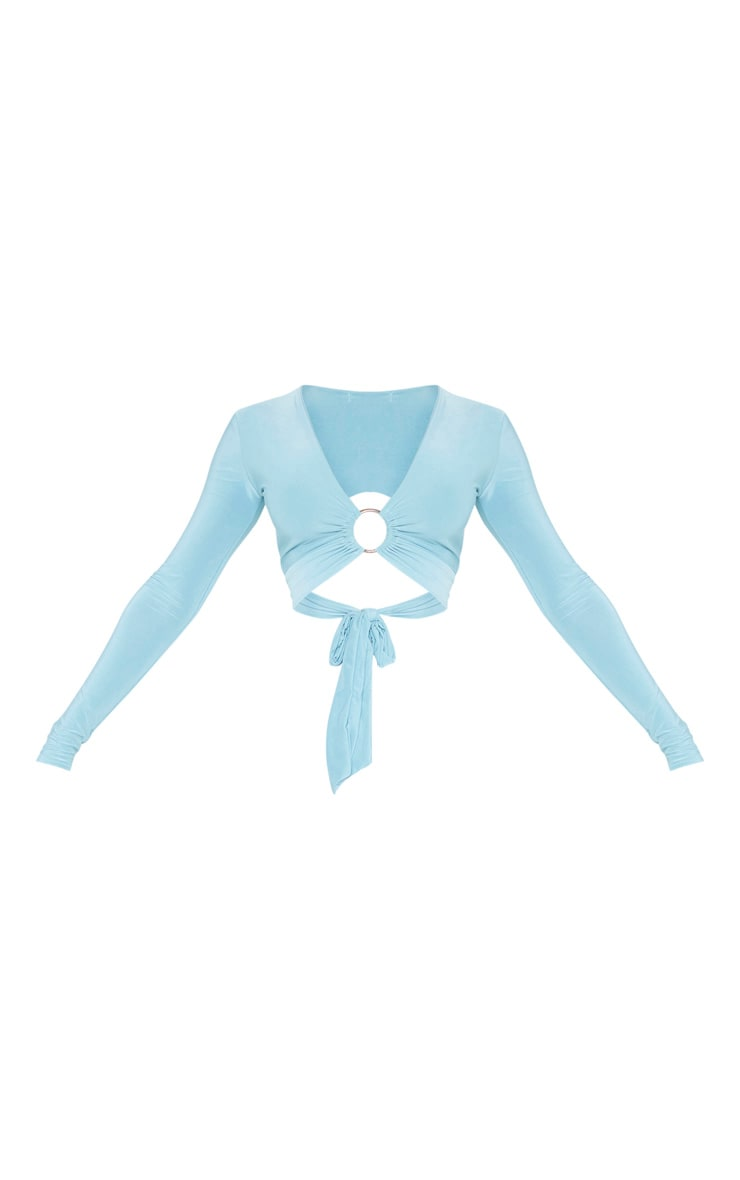 Dusty Turquoise Slinky O Ring Tie Back Crop Top 3