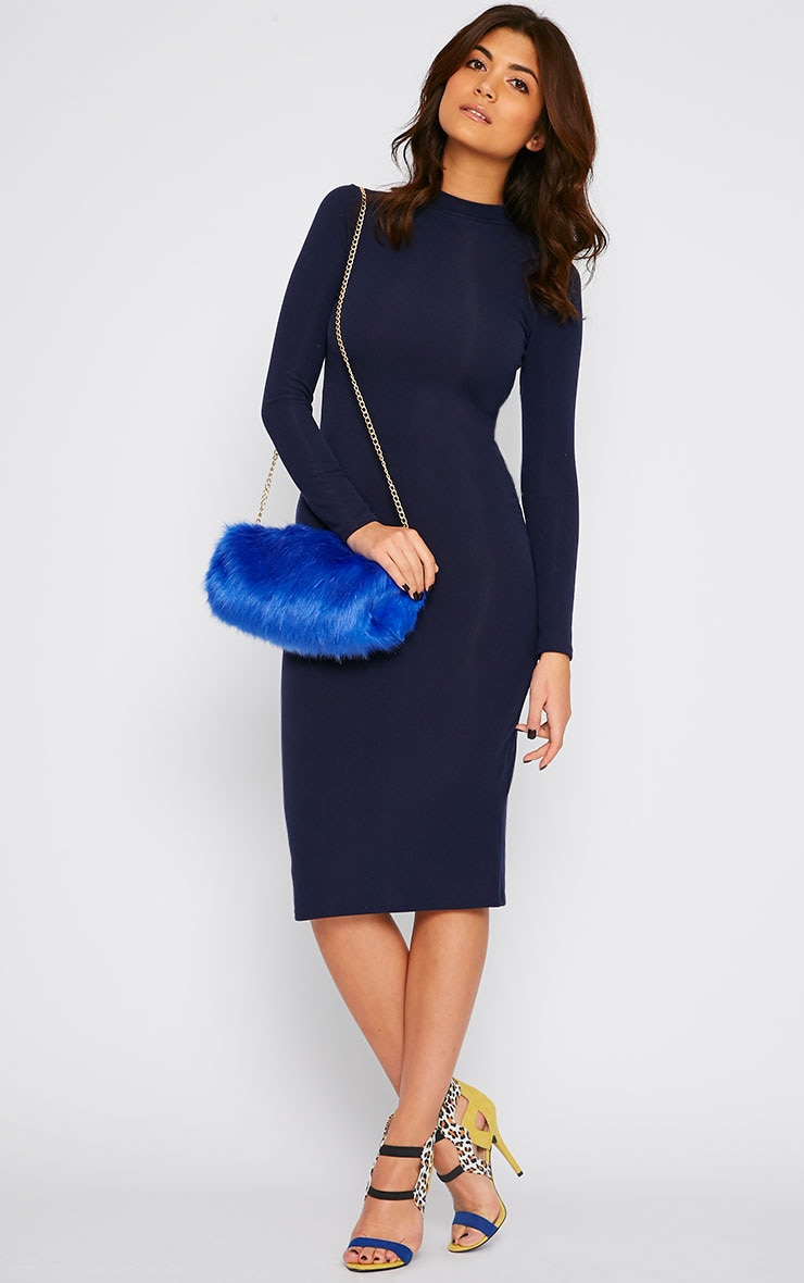 Basic Navy Ribbed Turtle Neck Midi Dress 4
