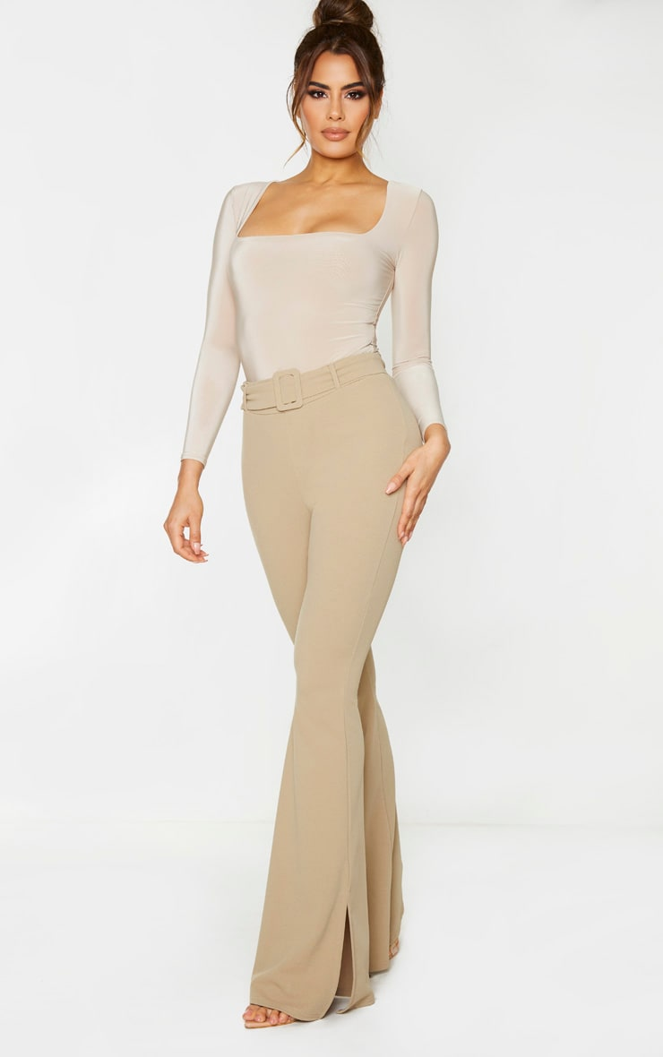 Tall Stone Crepe Belt Detail Trousers 1