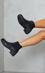 Black PU Round Toe Basic Chelsea Boots 2