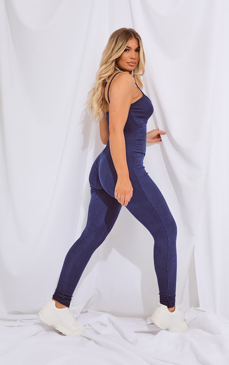 Navy Brushed Rib Strappy Jumpsuit 2