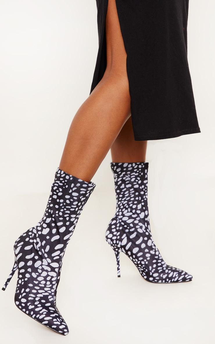 Black Spot Lycra Heeled Sock Boot 1