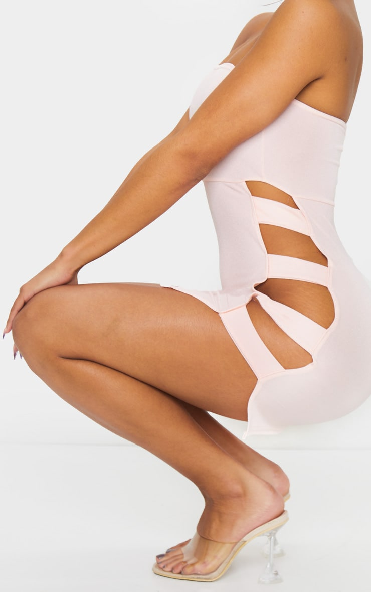 Nude Bandeau Strappy Side Bodycon Dress 4
