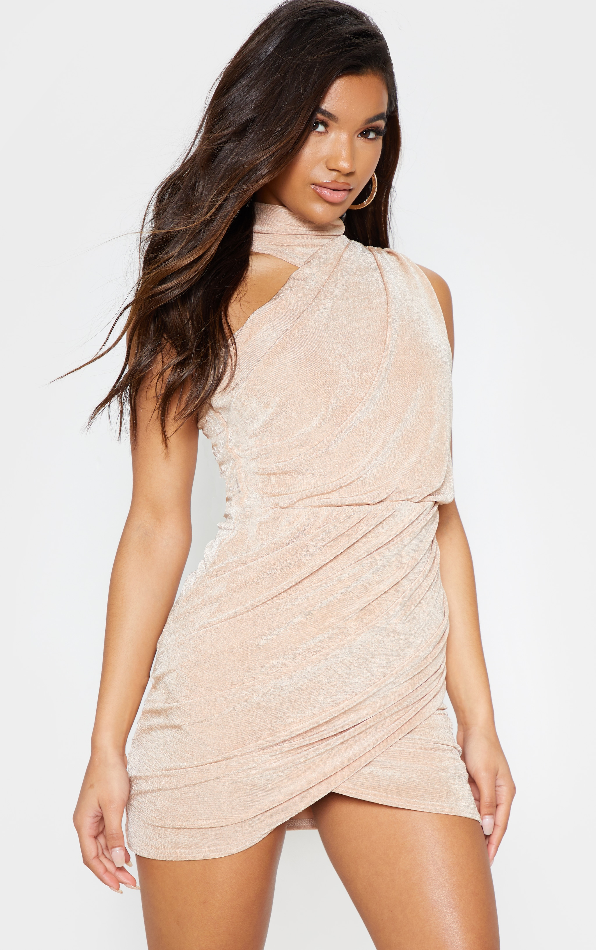 Champagne High Neck Ruched Side Bodycon Dress