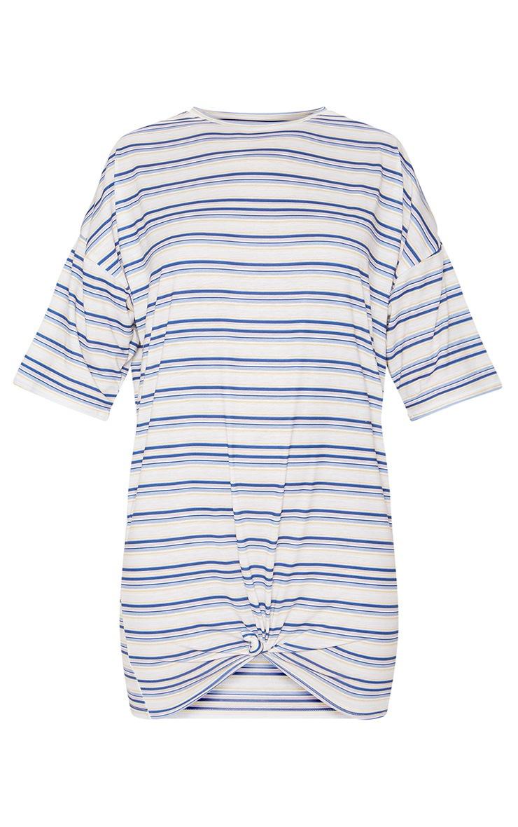 Multi Stripe Print Knot Detail T Shirt Dress 2