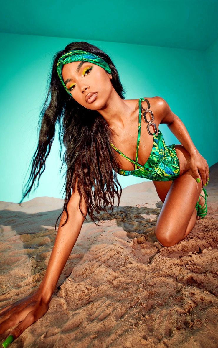Green Tropical Gold Trim Underwired Swimsuit 3