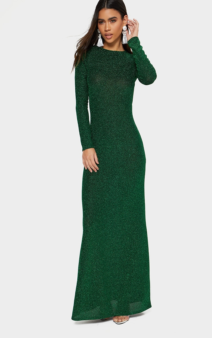 Green Glitter Long Sleeve High Neck Backless Maxi Dress 2