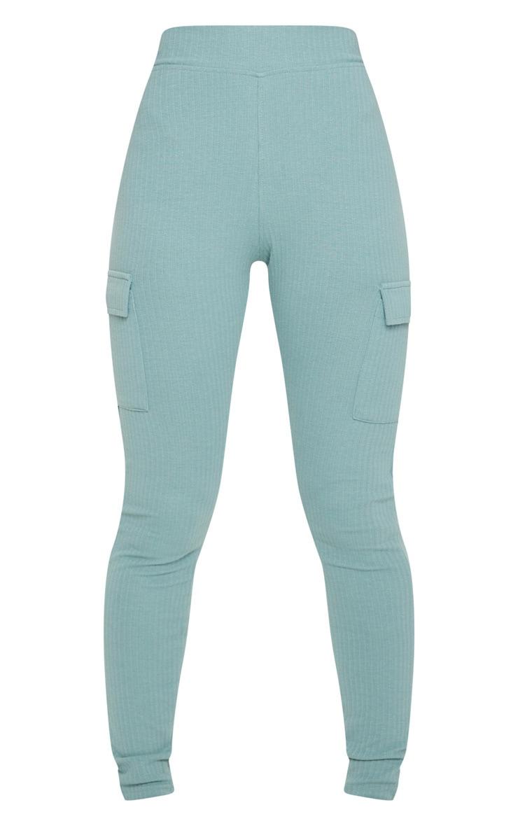 Blue Pocket Detail Heavy Ribbed Leggings 5