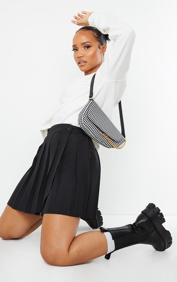 Black Woven Skater Skirt 1