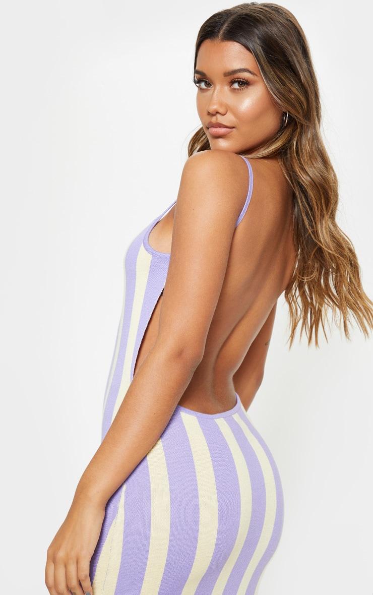 Lilac Stripe Detail Knitted Midi Dress  5