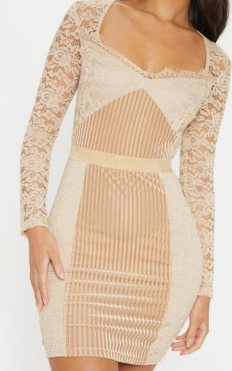 a8fbbdc767c6f Nude Lace Velvet Insert Bodycon Dress   PrettyLittleThing