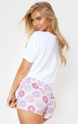Ensemble de pyjama short rose à imprimé donut 2
