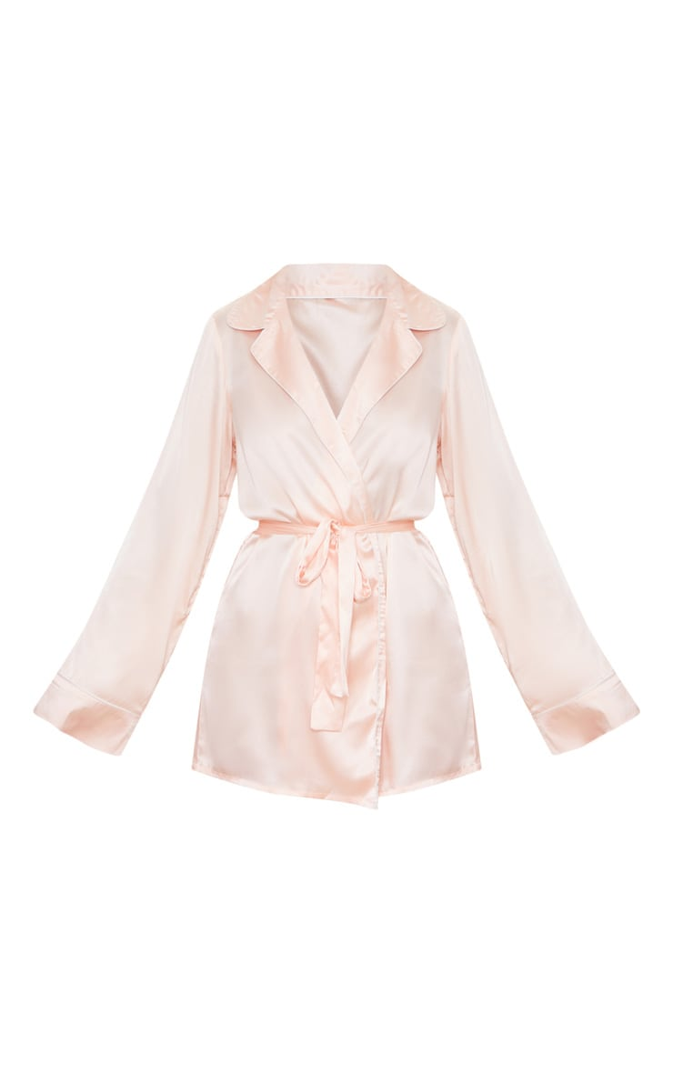 Baby Pink Satin Piped Robe 5