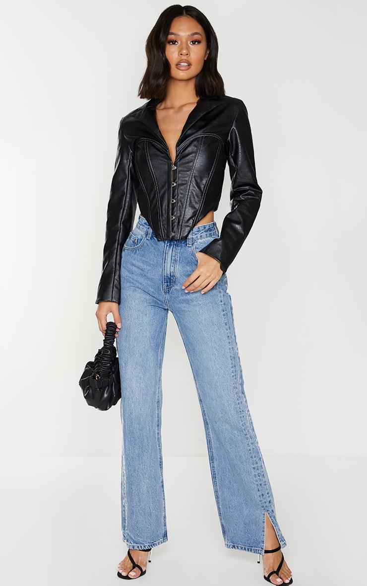 Veste en similicuir noir à partie style corset et ourlet pointu 3
