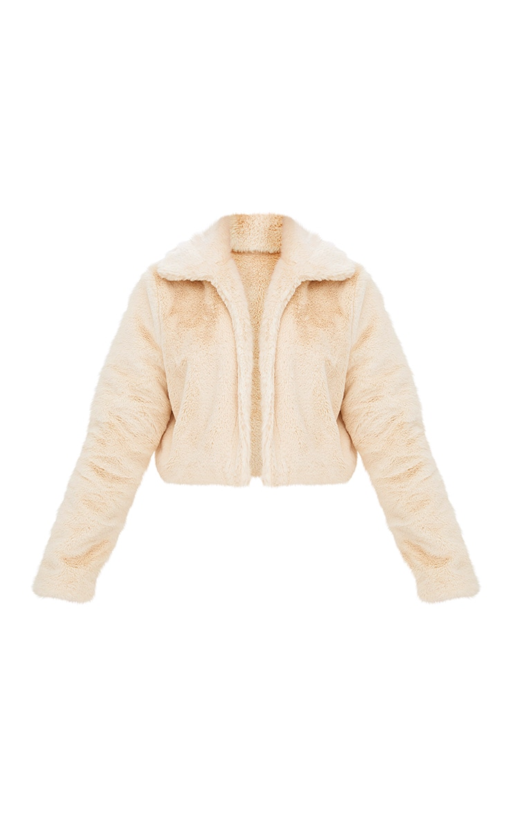 Cream Cropped Faux Fur Coat 2