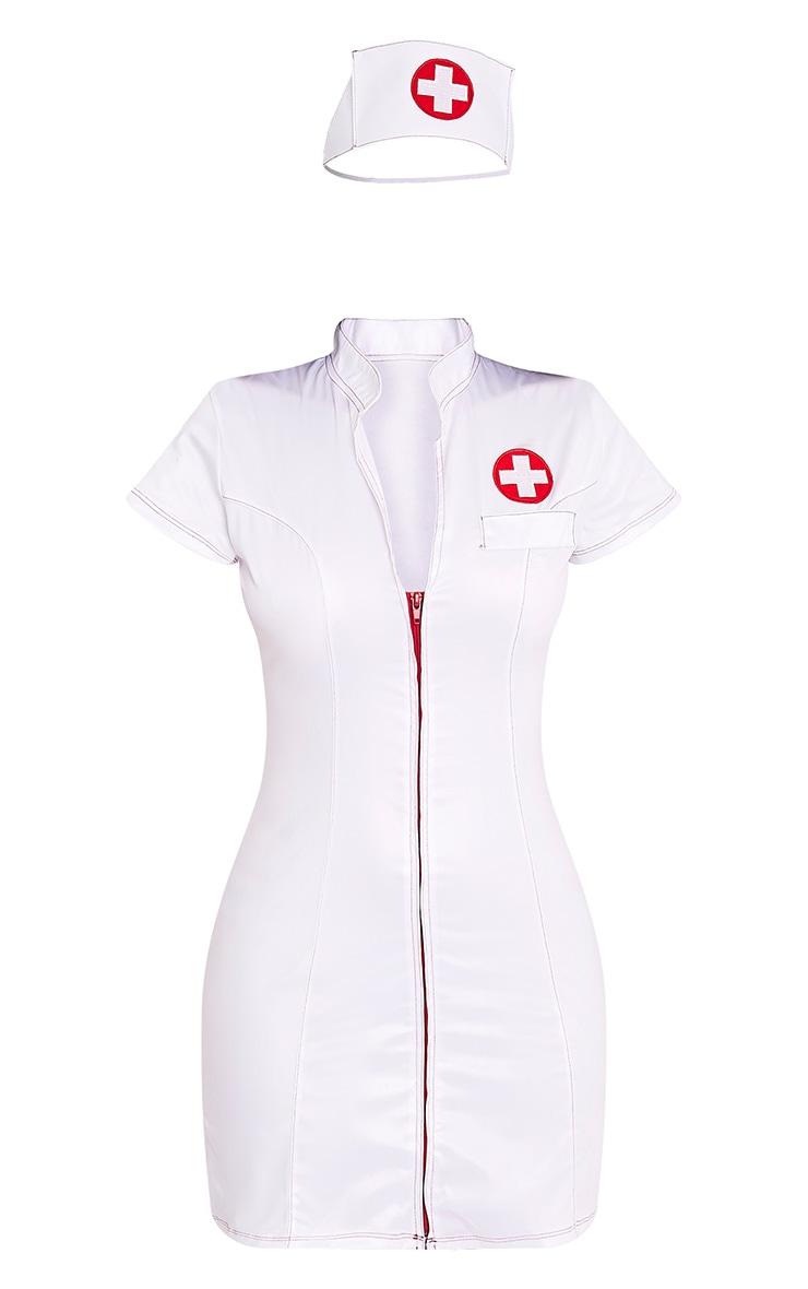 Sexy Nurse White Fancy Dress Costume 3