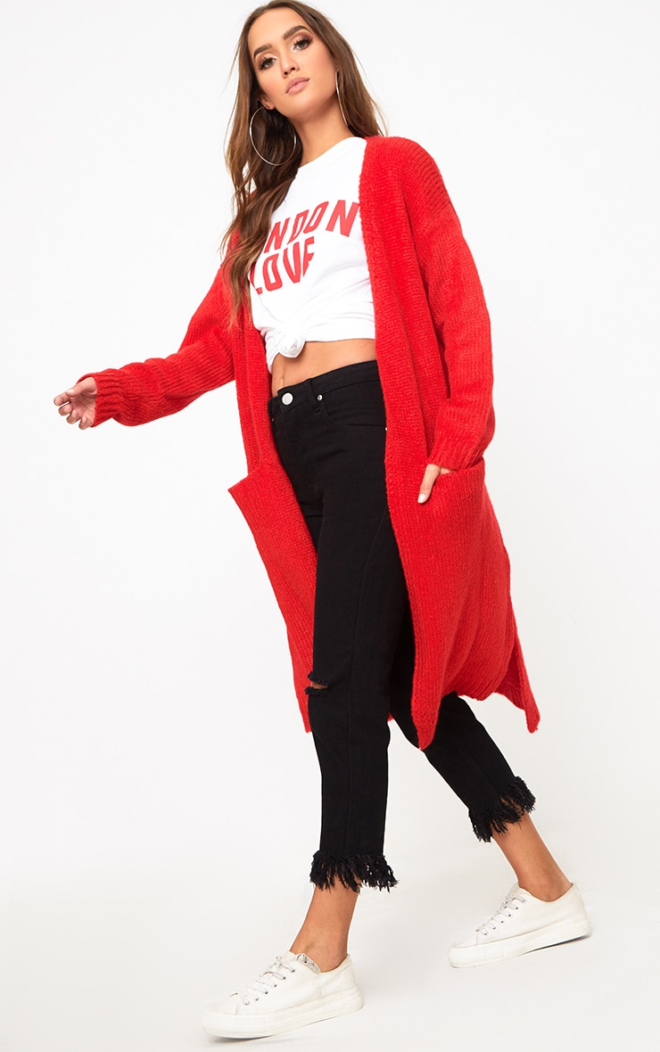 Red Super Chunky Long Line Cardigan 4