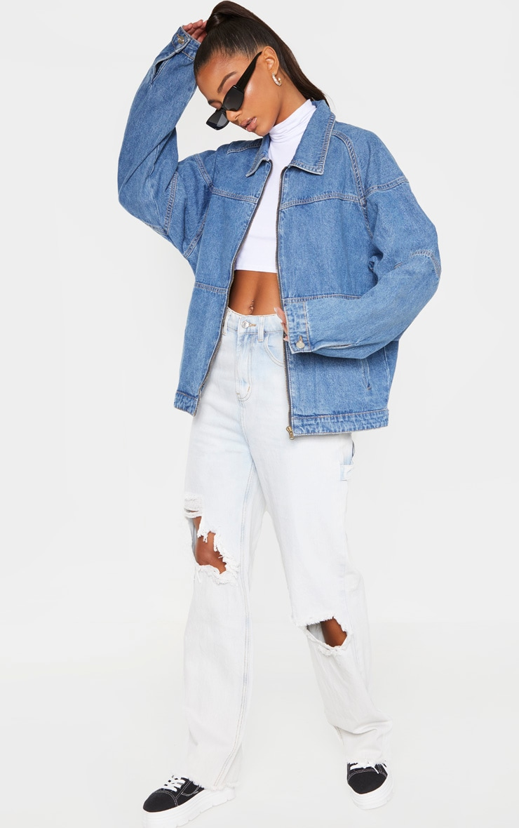 Mid Wash Oversized Trucker Boyfriend Denim Jacket 4