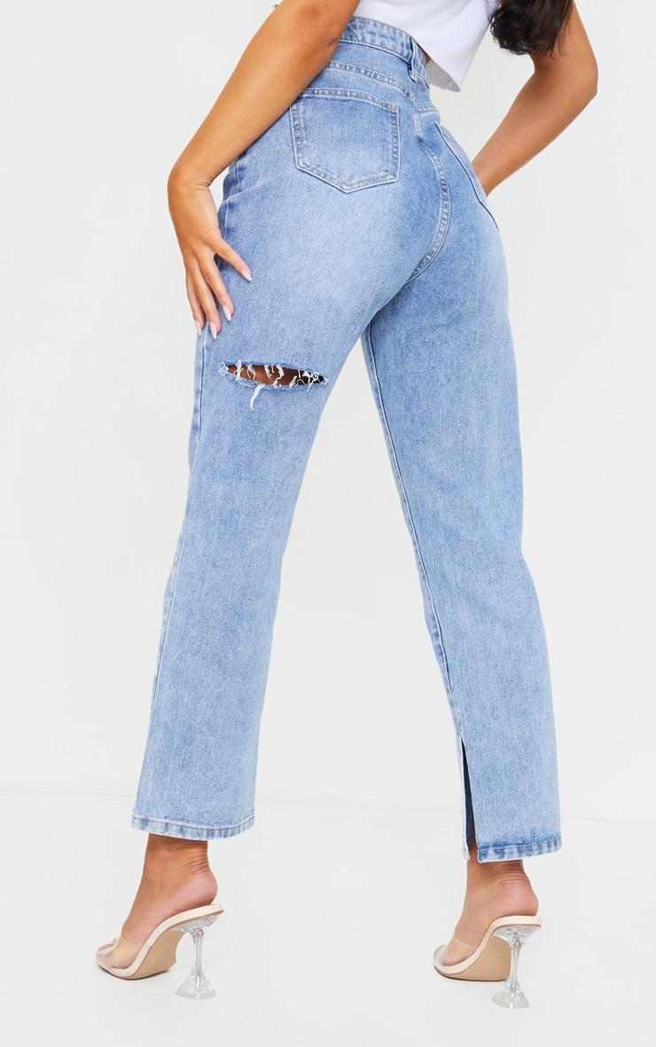 Mid Wash Cropped Split Hem Bum Rip Jeans 3