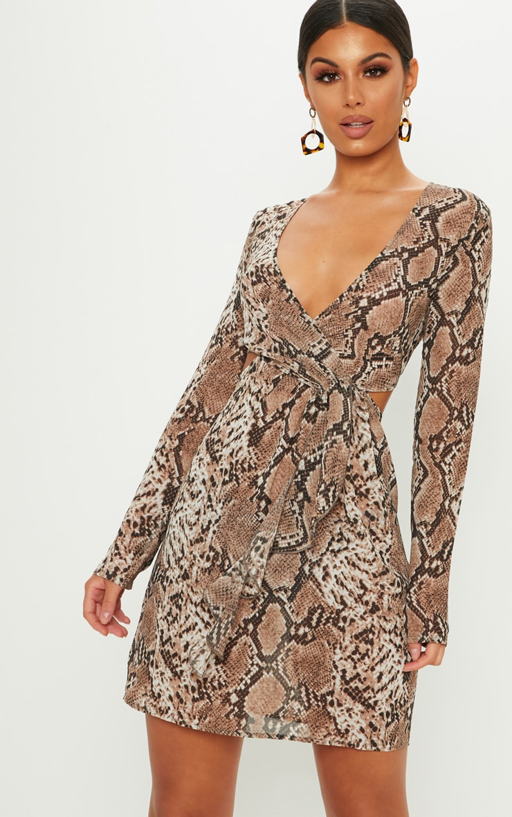 Tan Snake Print Wrap Frill Cut Out Shift Dress